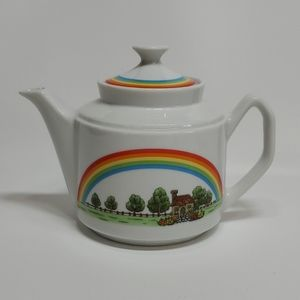 Rainbow Teapot with Cottage